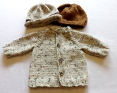 knit oatmeal baby set, Sweater, a Brown hat or  Oatmeal knit hat, made to order