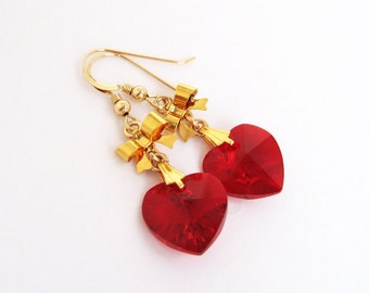 Red Heart Earrings, July Birthstone Jewelry, Heart and Bow Earrings, Ruby Red Swarovski Crystal Heart Jewelry, July Birthday Gift