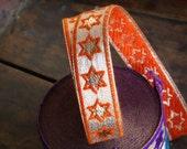 "Orange You A Star / Ribbon / Sari Border / India, 1 1/4"" x 1 yard / Awesome Fun and Funky Craft, Halloween Supplies / Indie Neon Pop"
