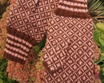 Finely Hand Knitted Estonian Mittens in Brown and Pink - warm and windproof