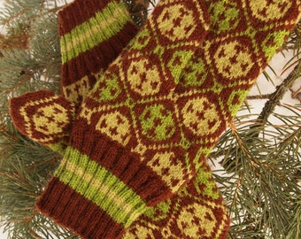 Finely Knitted Estonian Mittens in Brown and Greens - warm and windproof
