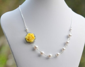 Yellow Rose Asymmetrical White Swarovski Pearl Wedding Necklace.  Yellow Bridesmaid Necklace.  Bridal Party Jewelry.