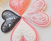 VALENTINE HEART SOAPS, Wedding Favors, With Love - Set of Four Hearts, Scented in Sweet Raspberry, Vegetable Based, Handmade