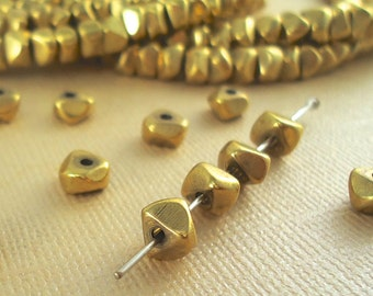 100 Brass Beads Nugget Chip 6mm - 1 Strand - Heishi Disc Metal Spacer BOHO Faceted Quality Solid Brass Natural Beads