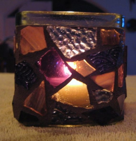 Shades of Purple Stained Glass Candle Holder