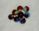 8 Vintage Marbles, Deep Red Patches on Blue or Green, Group 3