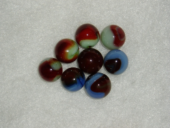 8 Vintage Marbles Deep Red Patches On Blue Or Green Group 3