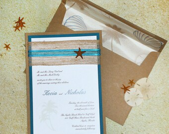 Tropical Starfish Beach Wedding Invitation