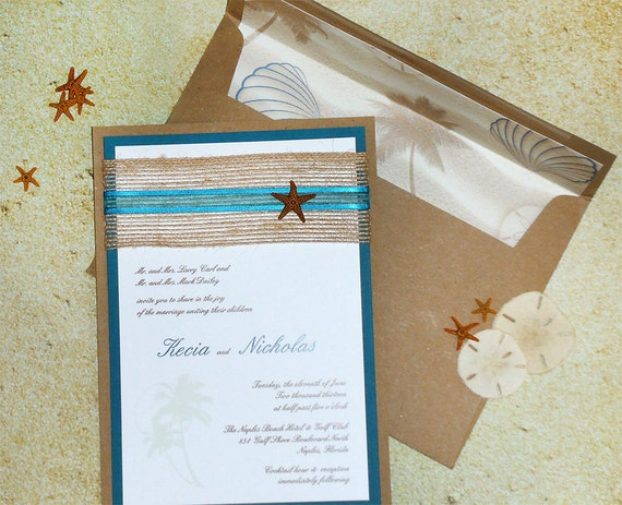 Tropical Starfish Beach Wedding Invitation