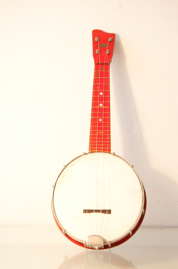 Vintage 1920s or 30s Poppy Red Richter Banjolele or Banjo Ukulele Hot Rod Red Uke