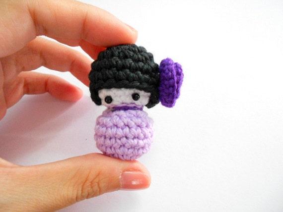 Amigurumi Penguin Cell Phone Strap : Amigurumi Kokeshi purple crochet doll Bag charm Phone charm
