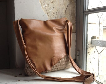 Leather Slouchy Tote in Caramel Leather and Natural Beige Handweave - Made to Order.  Now available in other colours