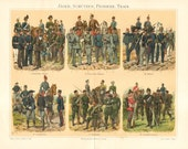 1896 Uniforms of European Armies, German Empire, Austria-Hungary, Italy, France, Russia, Great Britain Original Antique Lithograph