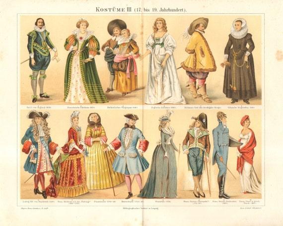 1896 Costumes of European Nobles 17-19th Century Original Antique Chromolithograph