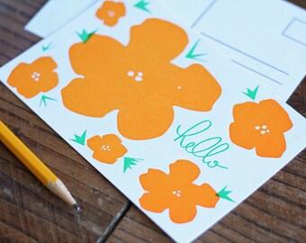 HELLO / Letterpress Printed Postcard