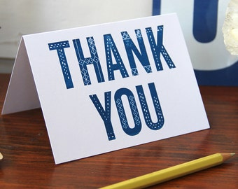 Dot and Dash Thank You /  Letterpress Printed Card