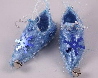 Silver pastel blue Fairy Shoes belong to bluebell faerie fantasy home decor magical elf shoe slipper ornament elf faerie shoe doll shoe