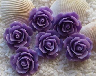 Resin Flower Cabochon - 17mm - 12pcs - Purple
