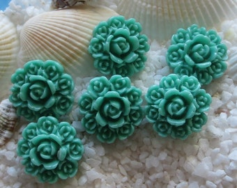 Resin Circle of Flowers Cabochon - 15mm - Teal - 12 pcs