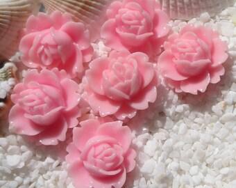 Resin Flower Cabochon - 17mm x 19mm - 12 pcs -  Pink