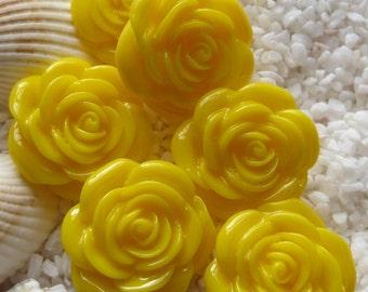 Resin Rose Flower Cabochon - 22mm - 6 pcs - Yellow