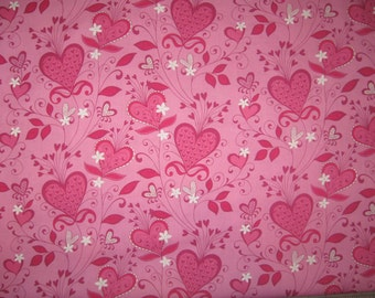 Brother and Sister Designs Heart flowers Valentine fabric 1 yard