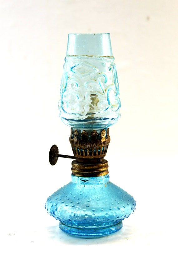 Glass Oil Burning Lamp Blue Glass Oil Lamp