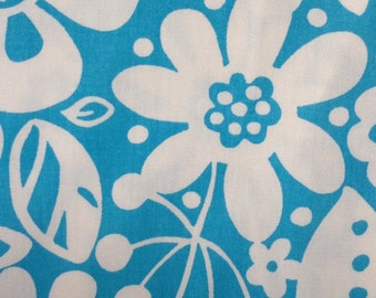 Floral Blue and White Cotton Fabric - 2 yards