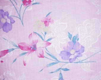 Cotton Fabric - Red Lily  Flowers - Soft Pink - 2 yards