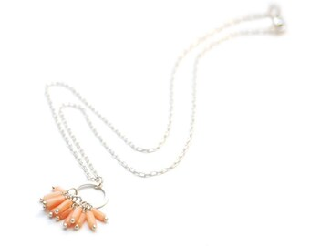CROWN CHAKRA - Coral Bauble Charm Necklace (Seventh Chakra - Migraines, low energy, depression, cloudy thinking)