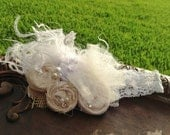 Ivory and White Large Couture-Inspired Floral Hairclip/Headband with curly feathers