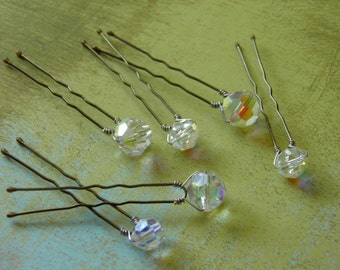 6 Swarovski 8mm & 10mm Crystals Clear AB Hair Pins