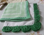 Hankies Set of Two Green White Embroidered Printed Handkerchiefs St. Patrick's Day