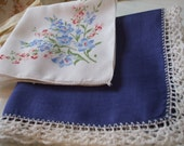 Hankies Set of Two Floral Navy Blue White Larkspur Crochet Edge Handkerchiefs