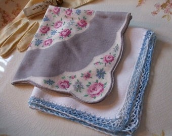 Hankies Set of Two Floral gray Mauve Blue Crochet Edge Handkerchiefs
