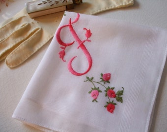 Hankie Monogram F Personalized Roses Embroidered Handkerchief