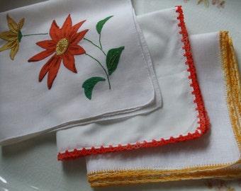 Hankies Set of Three Rust Orange Mustard Green Crocheted Edge Applique Embroidered Handkerchiefs