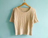 Vintage cream beige blouse top t shirt sweater short sleeve / crop cropped / cable knit / fitted / small medium