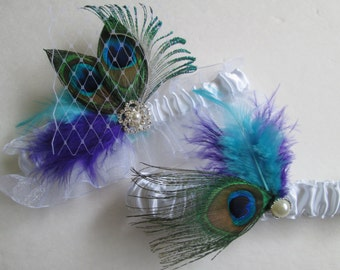 Purple & Turquoise Wedding Garter Set, Peacock Garters, White Bridal Garters with Birdcage Lace Veil, Teal and Purple Wedding