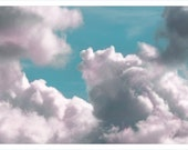 clouds, nature photography, spring, robins egg blue, pink, minimalist, wall decor, color, nursery art, 11X14