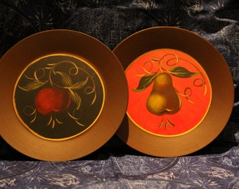 Set of Painted Wooden Plates