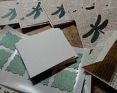 18 Green Dragonfly on handmade Dictionary Book Page Envelope