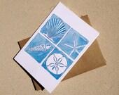 "Beach Notecards - Coastal Seashells - Set of Eight (3 1/2"" X 5"")"