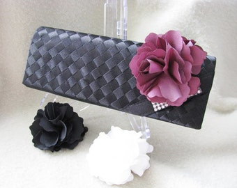 Woven Ribbon Satin Fabric Wedding Bag Clutch Formal Wear with removable Accent Available in 3 colors
