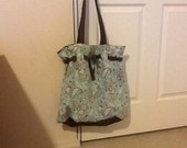 Large cinched tote purse in blue and brown