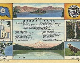 Vintage 1930s Oregon State Song Postcard