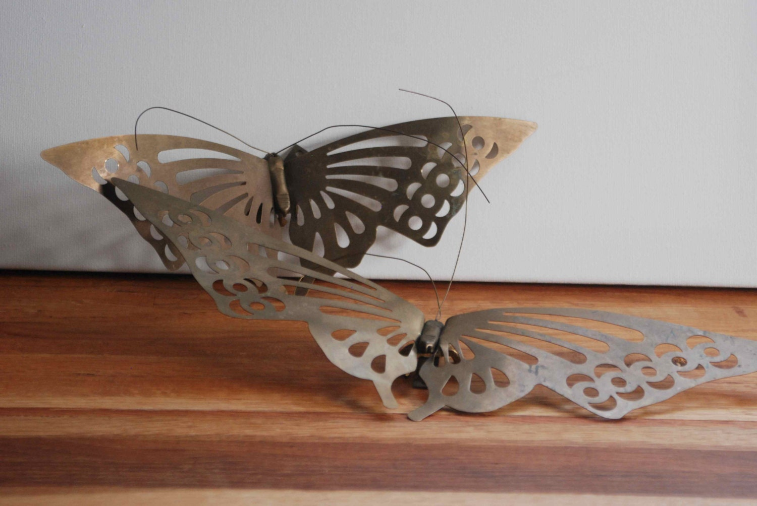 Hanging Butterfly Wall Decor : Brass butterfly wall hanging home decor moth by atreasurehunt