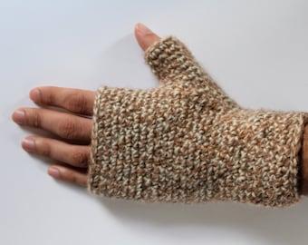 fingerless gloves brown and white