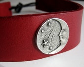 Moon and Stars Red Leather Headband Pagan Wiccan Headband Medieval Crown Barbarian Headband