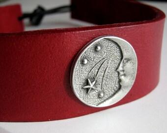 Moon and Stars Red Leather Headband Pagan Wiccan Headband Medieval Crown Barbarian Headband